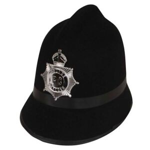 London Bobby Police Hat Policeman Black Fancy Dress Accessory With Badge New