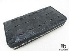 PELGIO Genuine Crocodile Backbone Skin Leather Zip Around Clutch Wallet Black