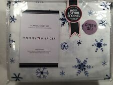 Tommy Hilfiger Flannel Queen Blue White Snowflake Set 100% Heavyweight Cotton