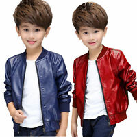 Fashion Boys Kids punk PU Leather biker 1-12Y Jackets Coats Clothes outwear gift