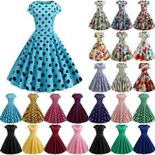 Women Summer Vintage Party Dress Retro Pinup Ladies Swing Skater Prom Dresses AU
