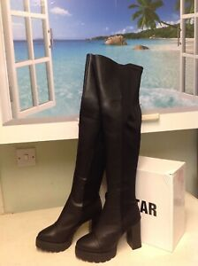 Ladies Black Galstar Over The Knee Boots Size 5/38 New Shop Clearance