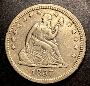 1857 Seated Liberty Silver Quarter 25c High Grade Type Coin Die Crack Reverse