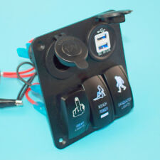 12V DC 3 Gang Switch Panel Circuit Rocker Breaker USB Boat Marine Sell Well