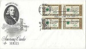2 '60 FDC American Credo Series, Ben Franklin SC#1140 on  ArtCraft B4, Artmaster