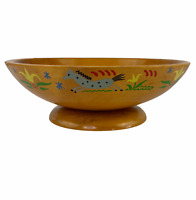 Vintage 1940s Munising Painted Horses Flowers Footed Round Wood Console Bowl