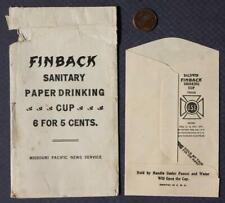 1940s WWII Era Missouri Pacific Railroad Finback Sanitary Paper Cup w/envelope!*