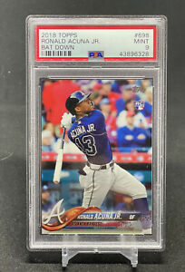 2018 Topps Series 2 Ronald Acuna SSP Bat Down RC PSA 9 Mint Braves