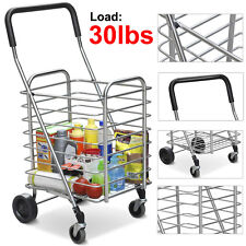 Travel Shopping Cart Jumbo Aluminum Folding Swivel Wheel Grocery laundry Cart