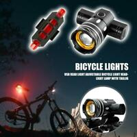 Bicycle Front Light USB Rechargeable Headlight Taillight  3 Mode LED Bike Lamp