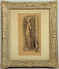 Listed Artist Francis Luis Mora (1874-1940) Signed Ink Painting  c.1895