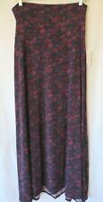 LuLaRoe Maxi Skirt Fold Down Waist Raisin Floral Print Size M #8799