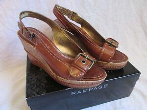 Women's Rampage Briar Brown Faux Leather Wedge Heel Sandal Buckle Open Toe Sz 8