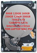 """80GB 120GB 160GB 250GB 320GB 500GB 750GB 1T 2.5"""" 7200RPM SATA Festplatte HDD"""