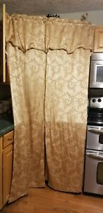 """Gold One Rod Set of Window Drape Panels with Attached Valance - 55"""" x 84"""""""