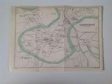 Shrewsbury, 1899 Antique Street Map, Bartholomew Atlas, North Wales