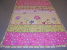 Cute Pink & Green w/Printed & Applique Flowers & Butterflies Quilt