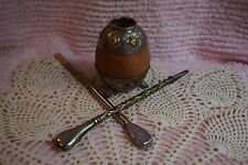 Antique Industria Argentina Mate Tea Calabash Gourd With 2 Bombillas Mate Straws