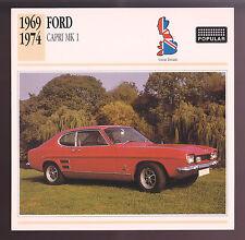 1969-1974 Ford Capri MK 1 Mark I 1600GT Car Photo Spec Sheet Info Stat CARD