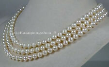 "Genuine 6.5-7mm round white cream akoya sea pearl necklace 14k gift 50""AAA+"