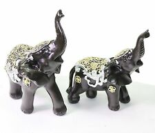 Set of 2 Feng Shui Black Elephants Trunk Statue Lucky Figurine Gift Home Decor