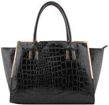Luxury Black Crocodile Texture Designer Handbag