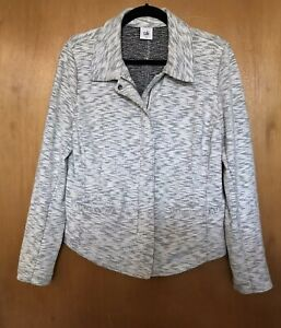 Cabi Womens Jacket Size L Cotton Gray White Full Zip Collared Pockets 5102 $169