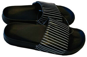 Mens Slip On Sandals Slides Rubber Flip Flops Shower Slippers Black Strip 11