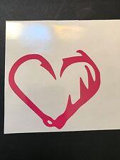 Fish Hook & Deer Horn Heart Window Sticker FISH HOOK & DEER HORN HEART DECALS