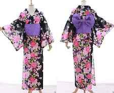 k-003 Negro Rosa Rosas Flores ORIGINAL Japón Mujer Kimono Yukata OBI Cinturón