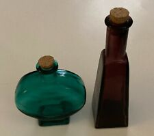 """Group Of 2 Decorative, Colored Glass Bottles With Cork Stoppers 7"""" & 5"""""""