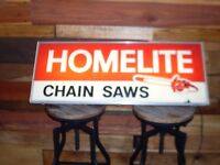 Homelite Chain Saws sign.  Lighted sign.  Gas, Oil.  Light. Very Rare.