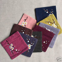 small tea towel 3.9inX3.9in cotton linen absorbent towel embroidered wintersweet