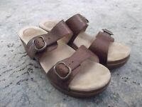 DANSKO Sophie Floral Tooled Brown Leather Sandals Heels Sz 42 / 11.5 - 12
