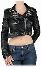 John Galliano, Giacca Chiodo borchie, Studs leather jacket SIZE M IT42