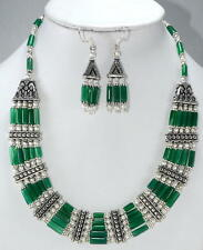 NATURAL GREEN ONYX GEMSTONE NECKLACE,EARRINGS 82.5gm