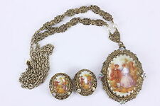 West Germany Vintage Demi Parure Necklace Earrings Porcelain Victorian Scenes