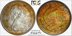 1966 BAHAMAS FIFTY CENTS BU PCGS MS65 COLOR TONED FINEST KNOWN GRADE WORLDWIDE