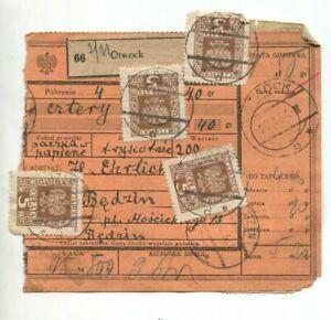 Poland  OTWOCK , Będzin 1934, postage due , Parcel Receipt, Adres Pomocniczy