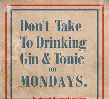 Gin & Tonic WW1 Patriotism - Retro Vintage Authentic World War Poster / Print