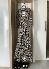 ZARA LONG MAXI BLACK FLORAL PRINT DRESS SHIRT STYLE WITH BELT MARILYN, SIZE S.