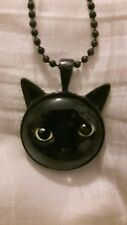 Cat Pendant On Black Chain