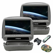 "2Pcs HDMI 9""Car Headrest Monitor Slot DVD Player Game Handle Zipper Cover Gray"