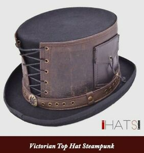 Steampunk Victorian Top Hat with Leather Strapped Goth Cosplay Antique -iHATS-UK