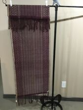 Indonesian Cloth, Hand Woven Shawl, Table Runner, Dark Plum And Taupe.