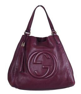 GUCCI Soho Medium Burgundy Leather Shoulder Bag Purse