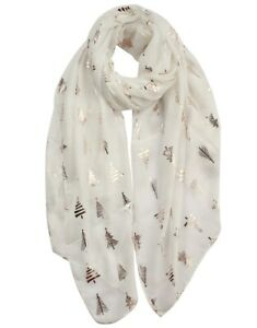 Novelty White Scarf With Festive Foil Christmas Trees