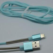 2m schnell Ladekabel 2A für original iPhone 5 / 6 / 7 / 8 Metalldraht NEU türkis
