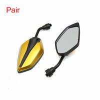 Pair Black Gold Tone Adjustable Polygon Rear View Mirror for Motorcycle Scooter
