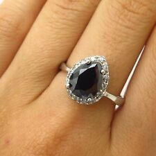 Gem & C Z Ring Size 9 Signed 925 Sterling Silver Pear-Cut Real Melanite